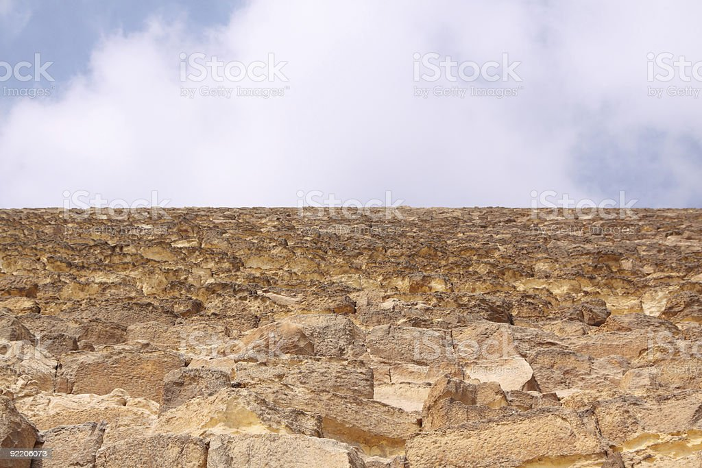 side of pyramid at giza from below stock photo