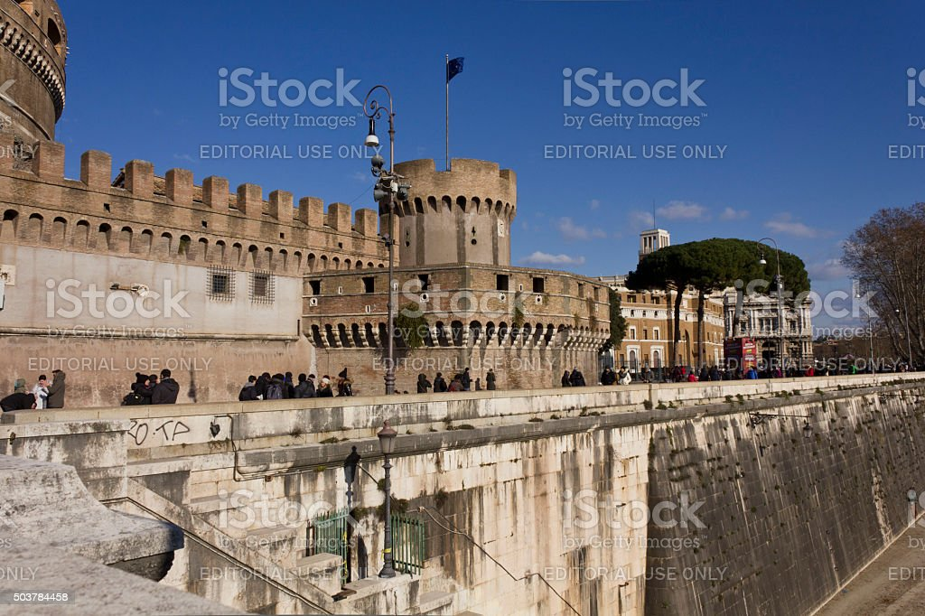 Side of Sant'Angelo Castle in Rome stock photo