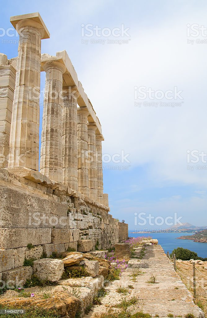 Side of the Poseidon Temple royalty-free stock photo