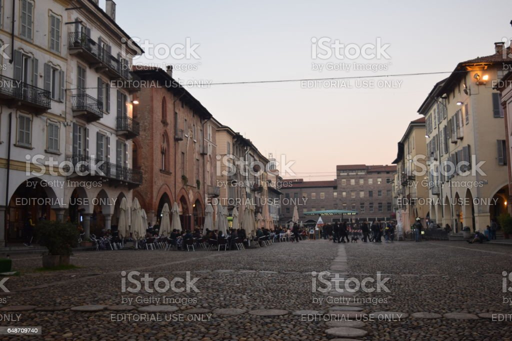 A side of the rectangular central Pavia Square (Piazza della Vittoria) stock photo