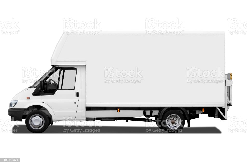 Side of white van isolated on white background with path stock photo
