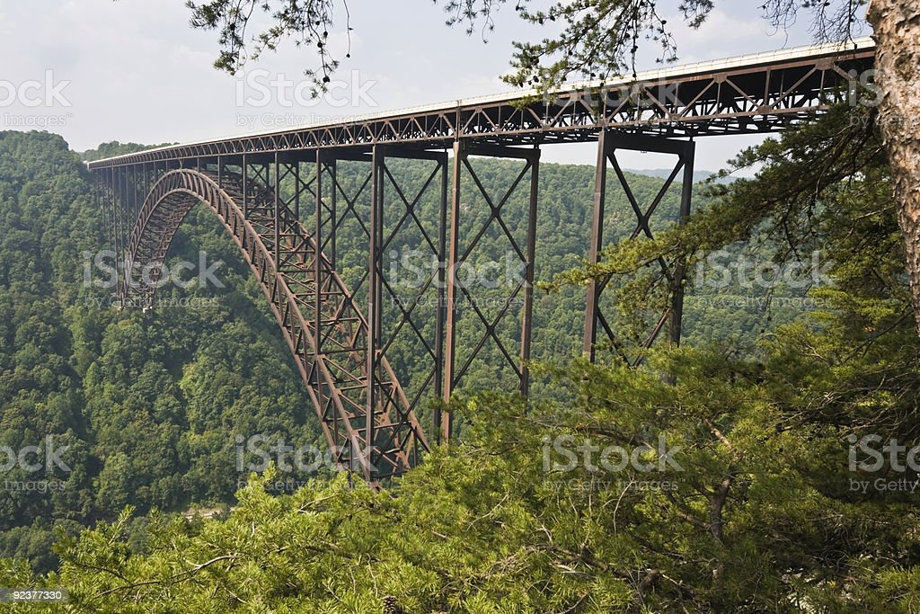 A side on view of the New River Gorge Bridge  stock photo