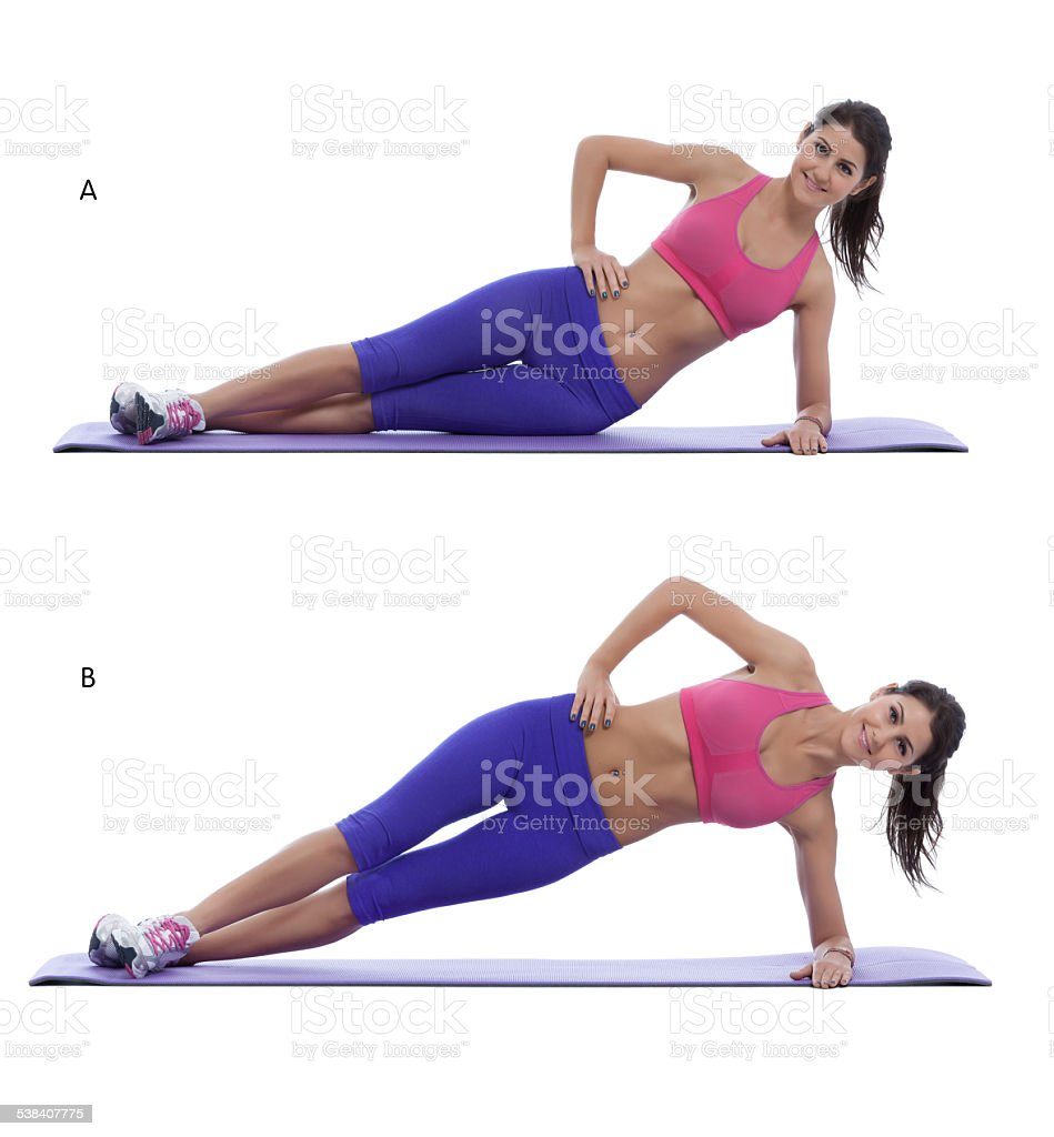Side plank lift stock photo