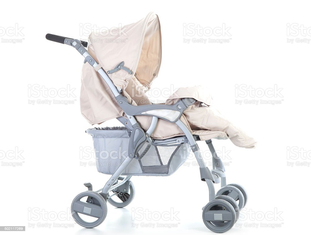 Side pram with cover opened on white background. stock photo