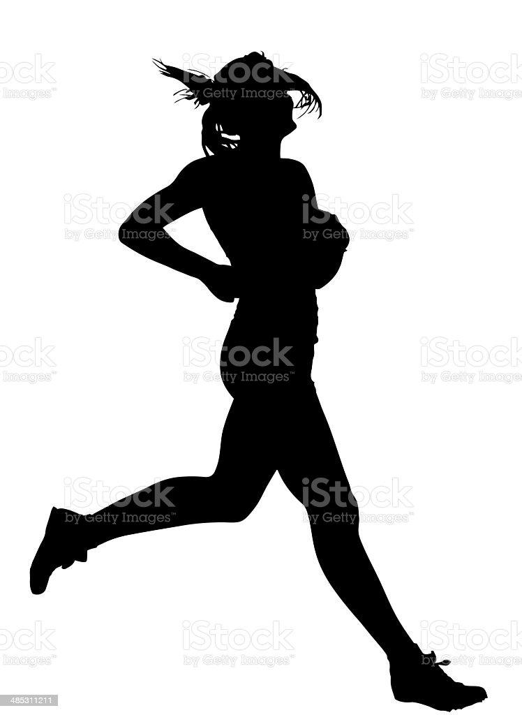 Side Profile of Speeding Female Track Runner Finishing stock photo