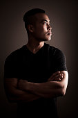 Side Profile Portrait of Attractive Asian Man