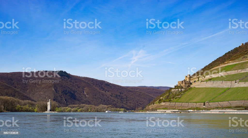 Side promenade of Bingen / Rhine Germany at the river mouth Nahe stock photo