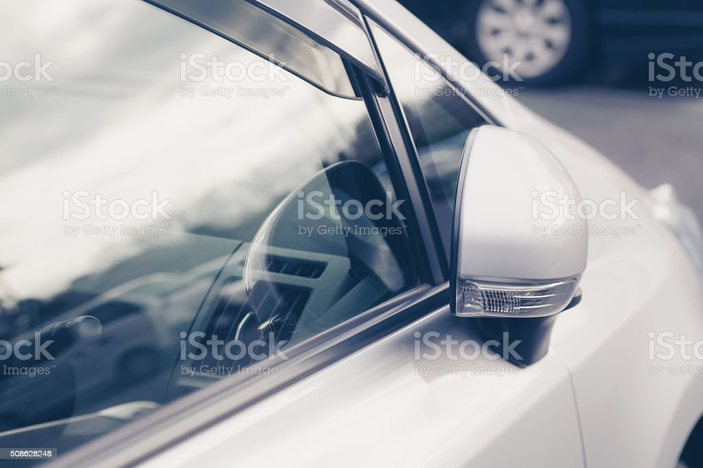 Side rear-view mirror stock photo