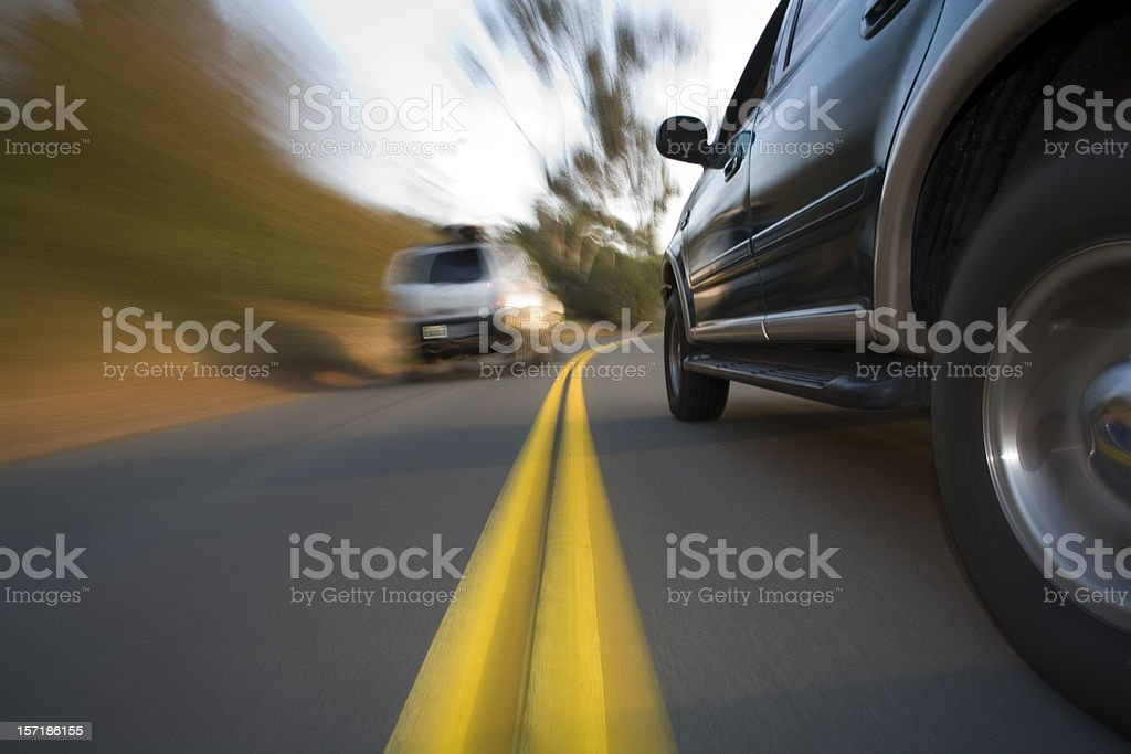 SUV side shot in corner stock photo