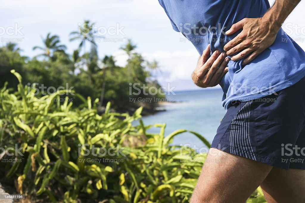 Side stitch stock photo