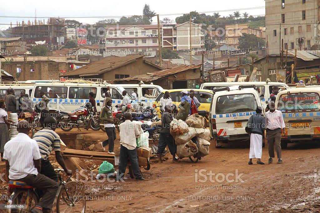 Side street life of Kampala stock photo