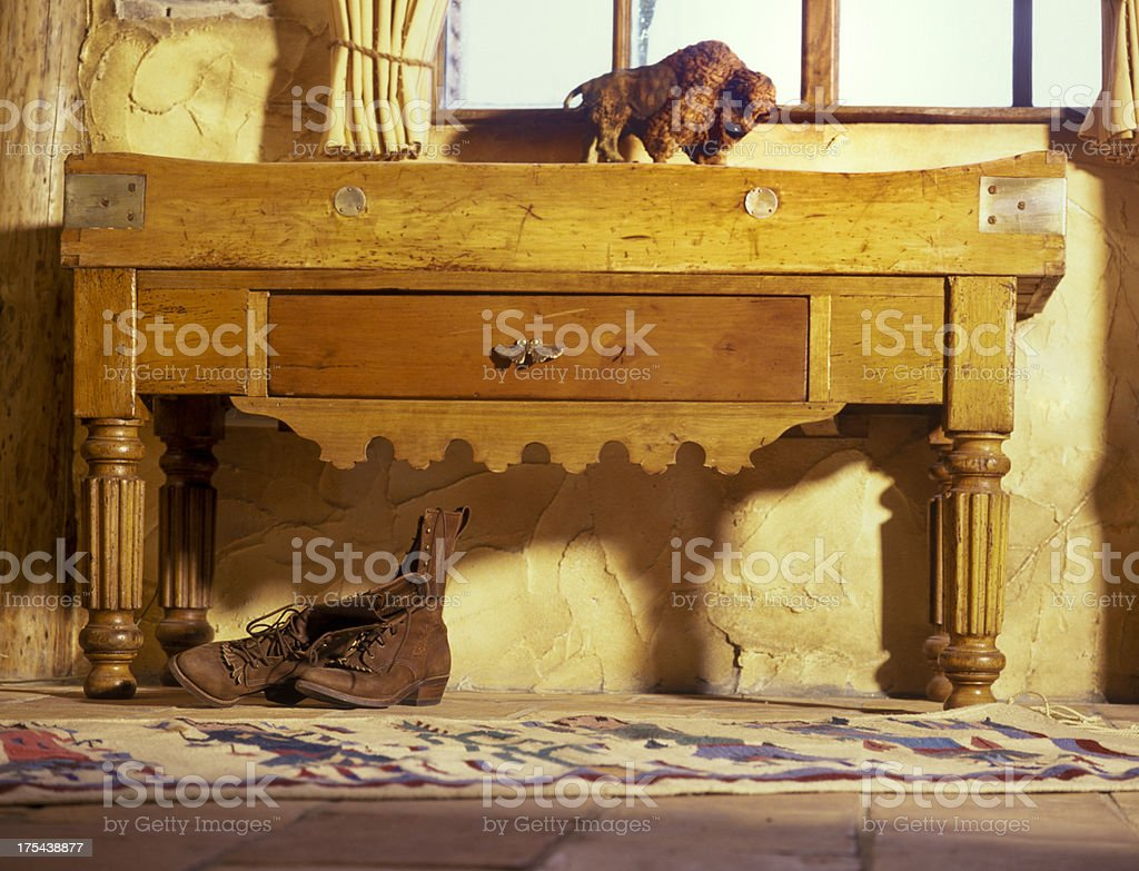 side table in Texas style stock photo