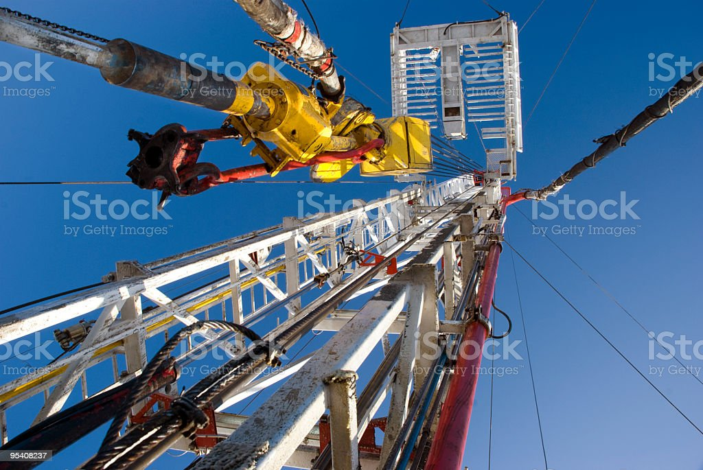 Side Track rig downside up stock photo