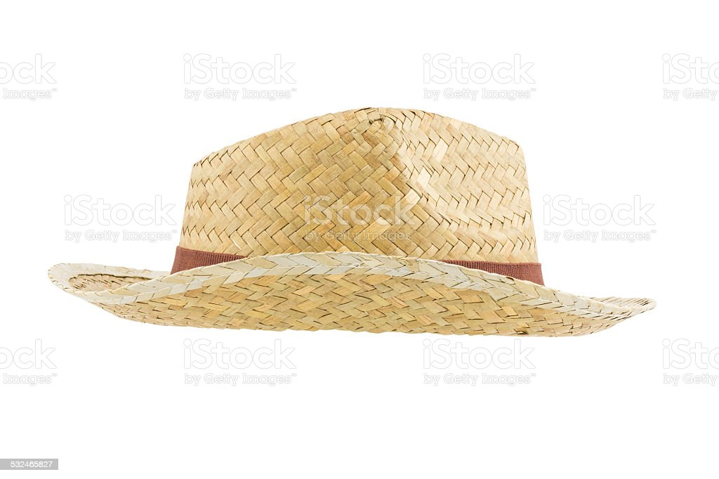 Side view bamboo panama hat stock photo