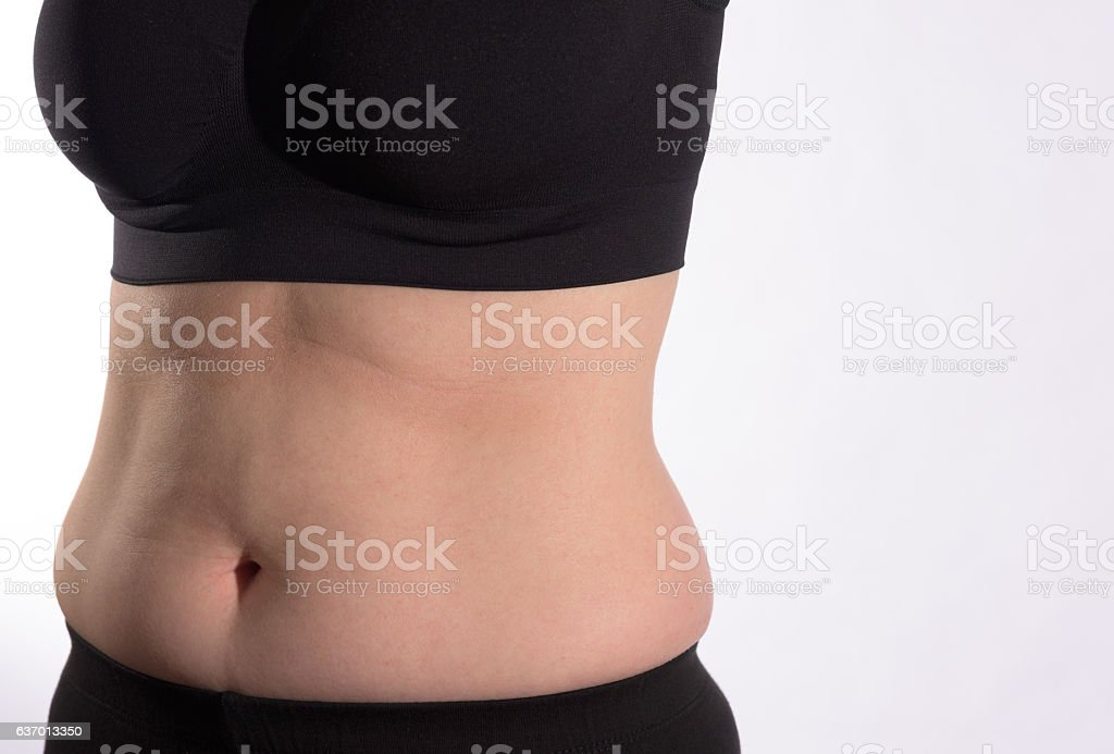 Side View Belly Bulge stock photo
