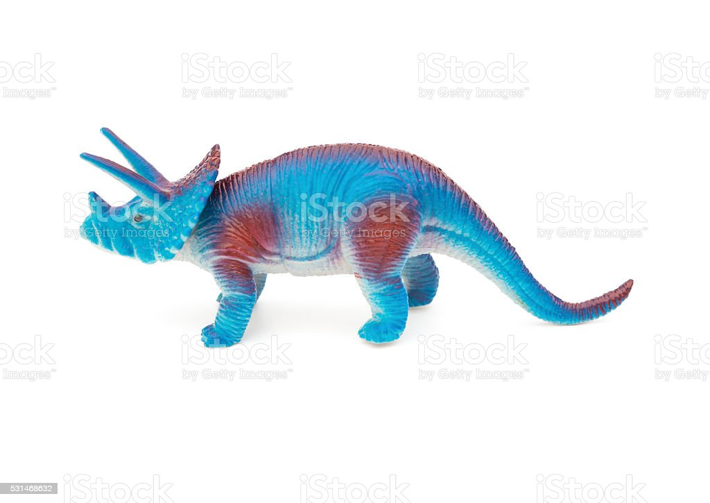 side view blue triceratops toy on a white background stock photo