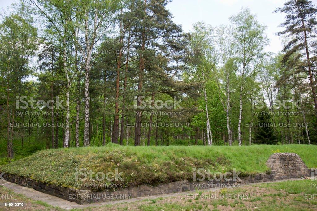 Side view memorial mass grave Bergen-Belsen stock photo