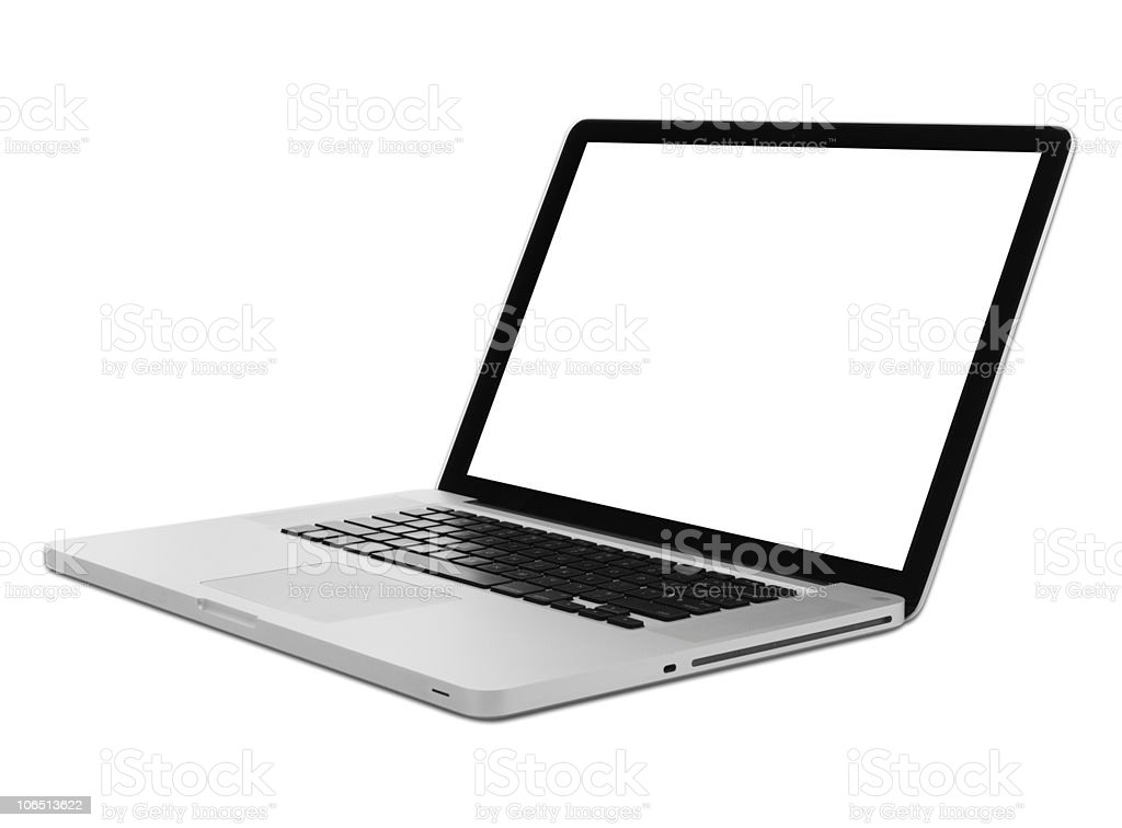 Side View Modern Aluminum Laptop Computer Isolated w/ Clipping Path stock photo