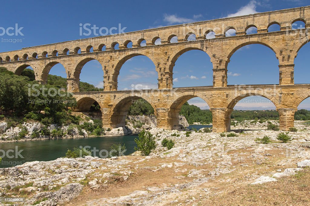 Side view od the Pont du Gard stock photo
