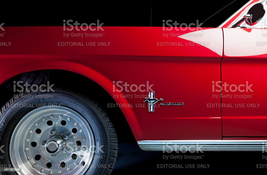Side view of 1964 Ford mustang. stock photo
