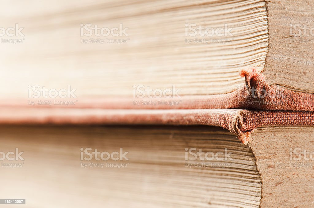 Side view of 2 books with old red material covers royalty-free stock photo