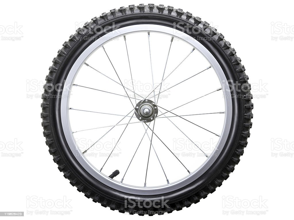 Side view of a bicycle tire and spokes on a white background royalty-free stock photo