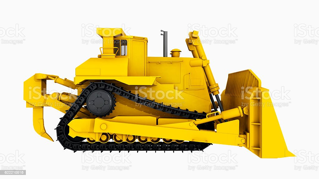 Side view of a bulldozer stock photo