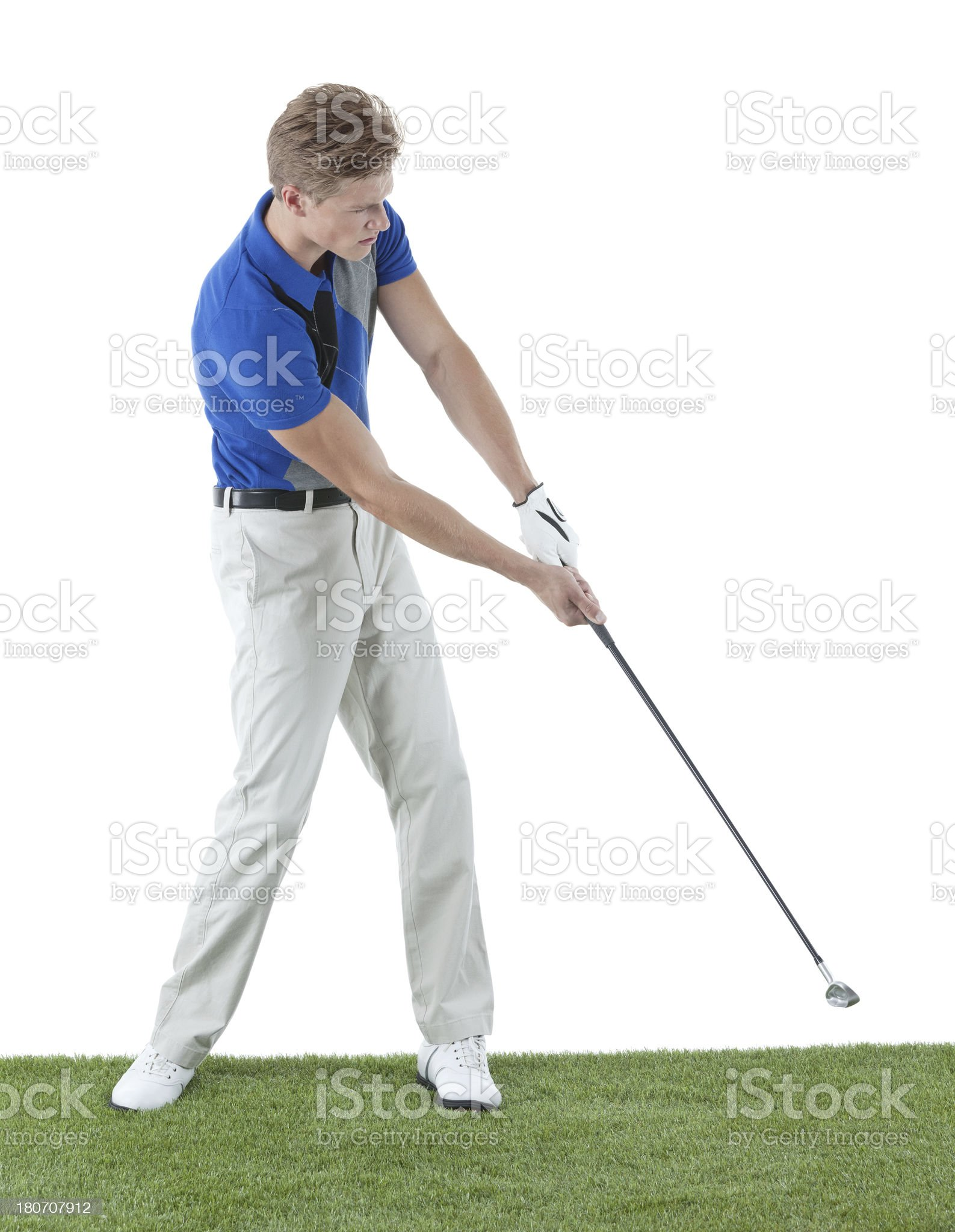 Side view of a golfer royalty-free stock photo