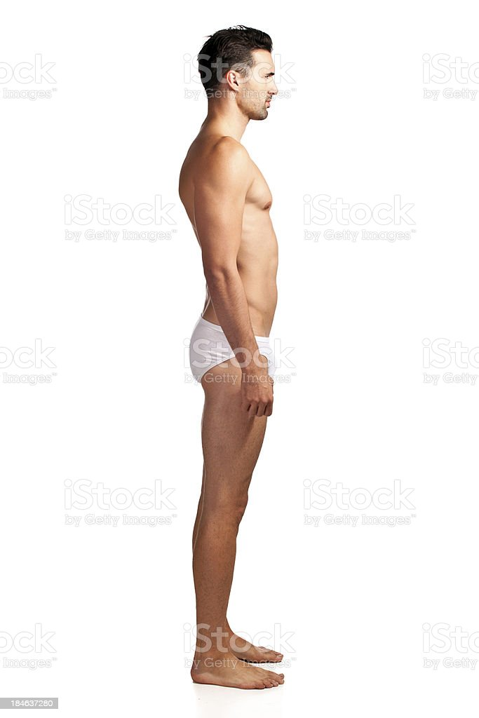 Side view of a handsome male in underwear royalty-free stock photo