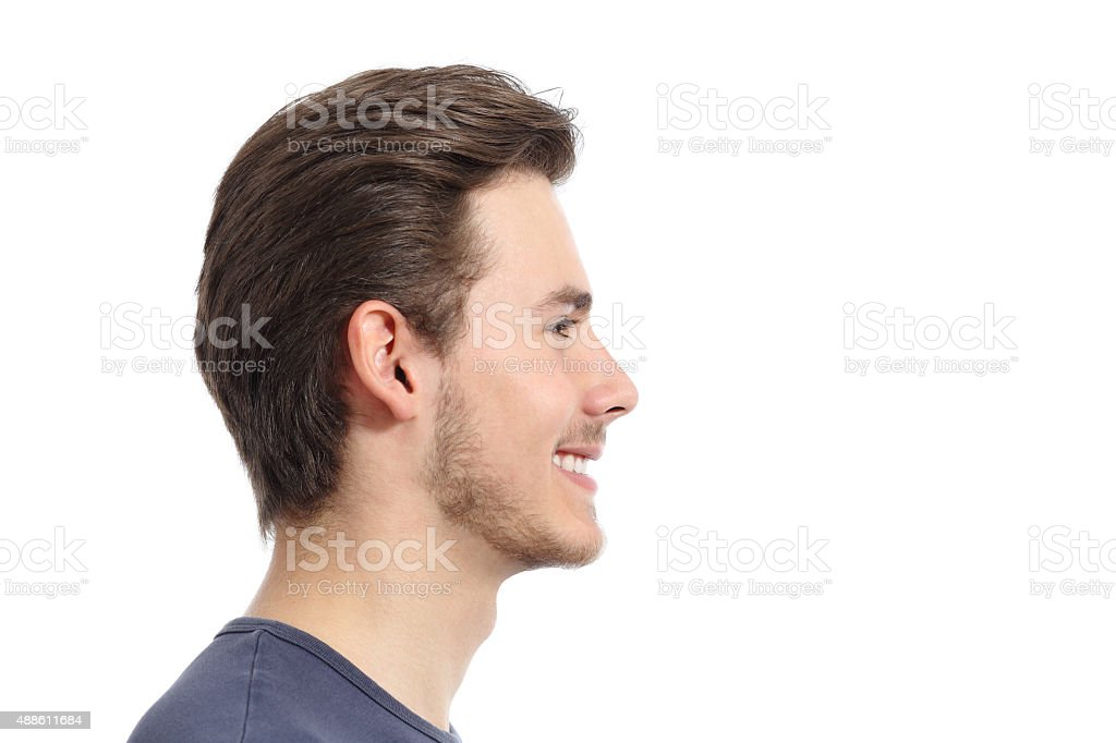 Side view of a handsome man facial portrait stock photo