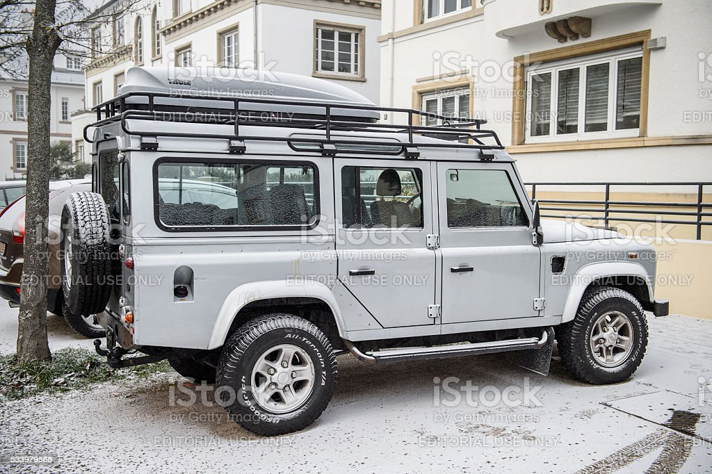 Side view of a Land Rover all terrain vehicle car stock photo