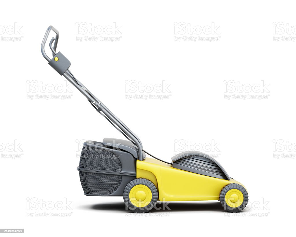 Side view of a lawn mower isolated on a white stock photo
