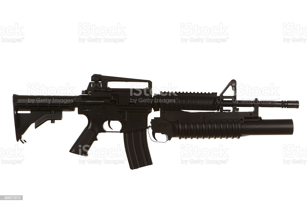 Side view of a M4 rifle on a white background stock photo