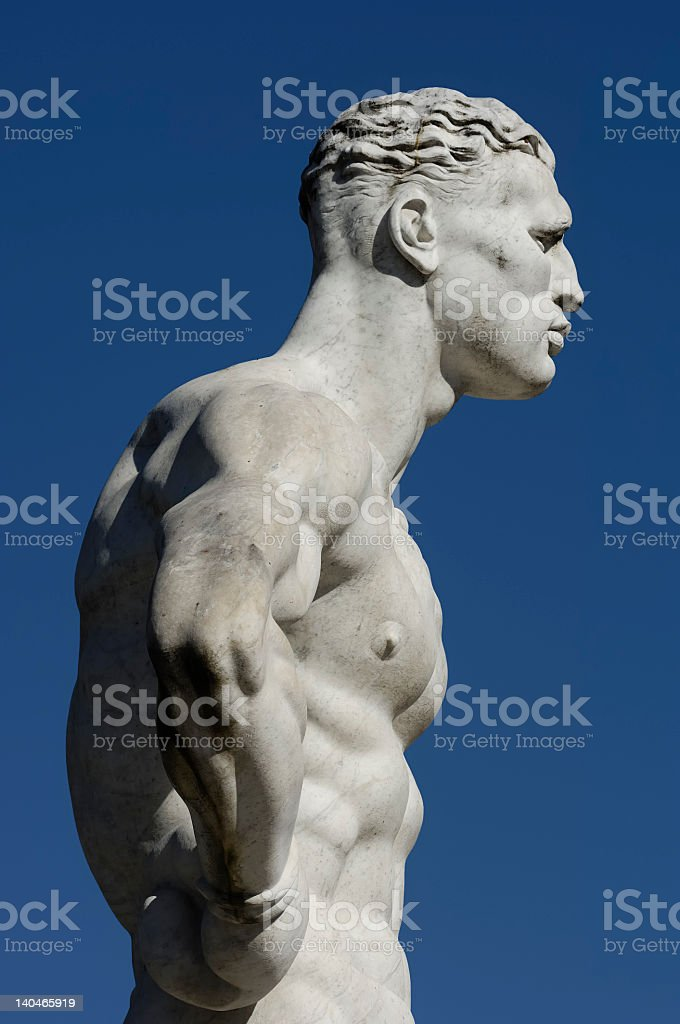 Side view of a modern sculpture of a boxer royalty-free stock photo