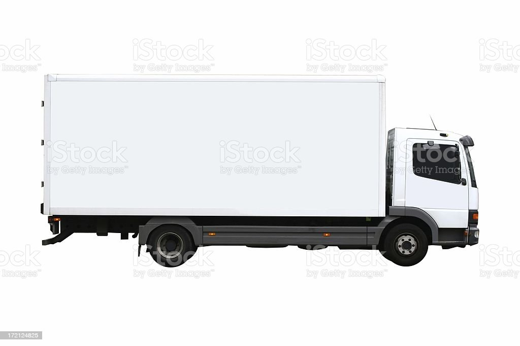 Side view of a plain white truck stock photo