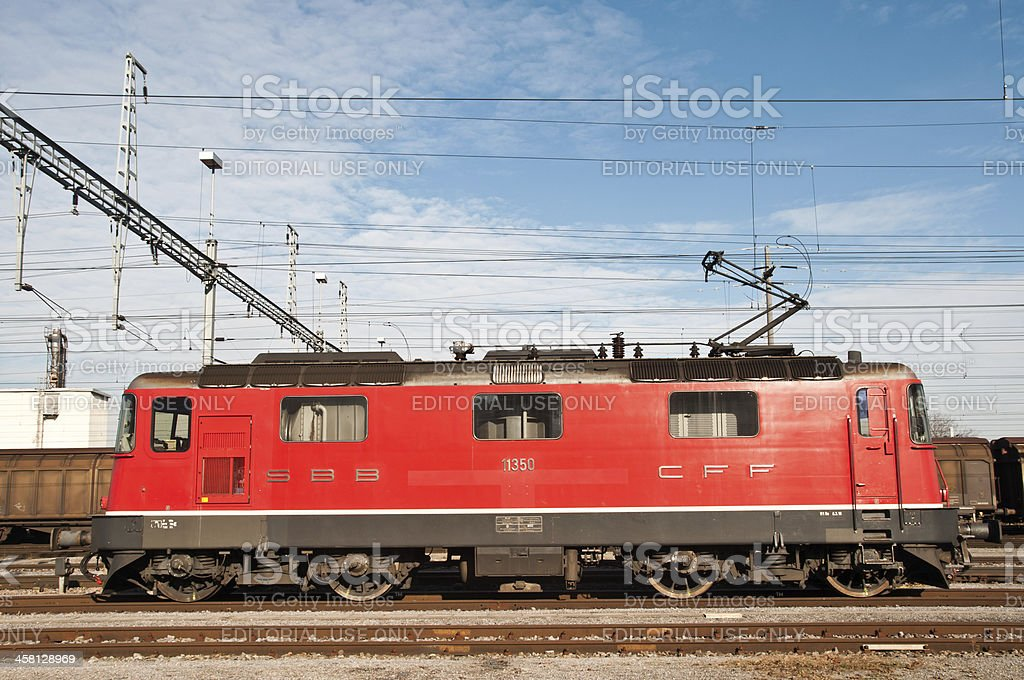 Side view of a red Swiss locomotive RE420 stock photo