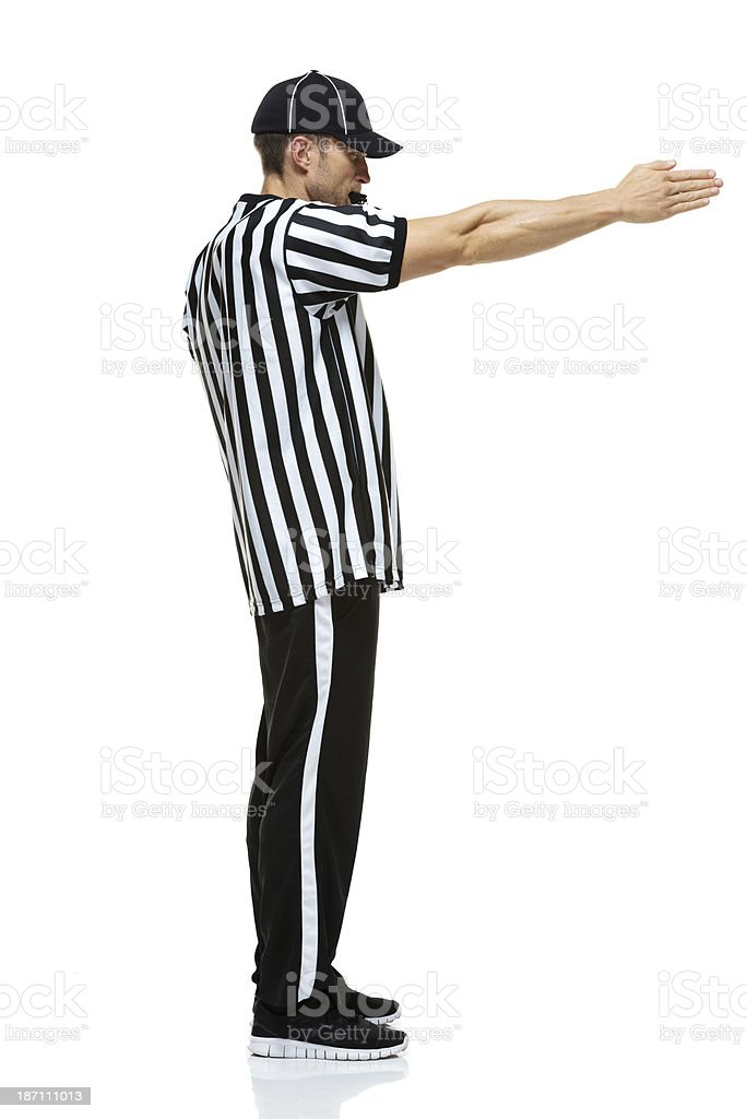 Side view of a referee royalty-free stock photo