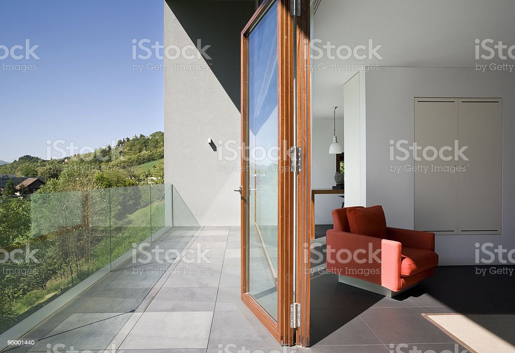 A side view of a room in a modern house royalty-free stock photo