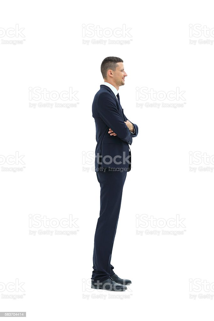 Side view of a smiling businessman, stock photo