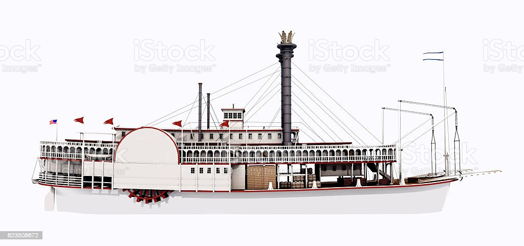 Side view of a steamboat of the Mississippi stock photo