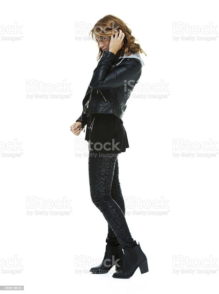 Side view of a stylish woman stock photo