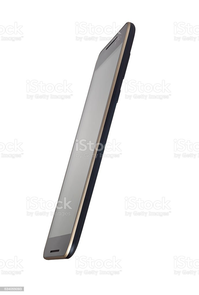 Side view of a touch screen smartphone stock photo