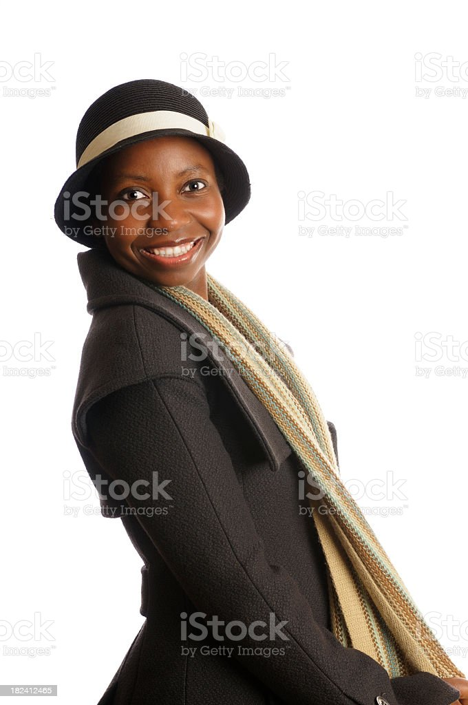 Side View of African American Woman in Winter Clothing stock photo