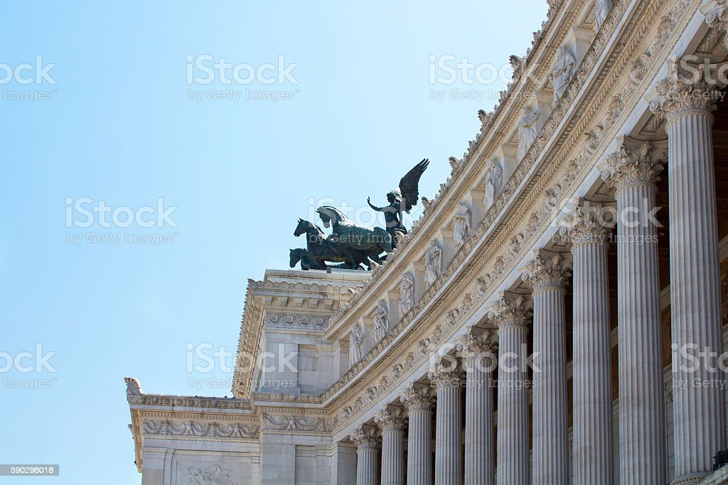 Side view of Altar of Fatherland at Piazza Venezia stock photo