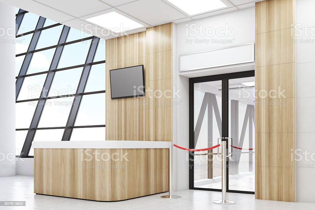 Side view of an airport lobby stock photo