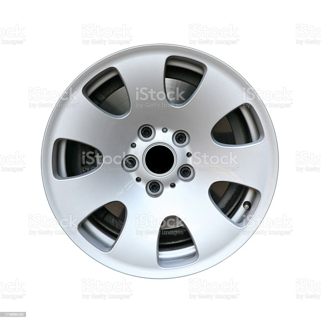 Side view of an alloy car wheel, isolated on white stock photo