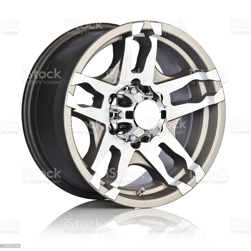 Side view of an alloy wheel rim on a white background stock photo