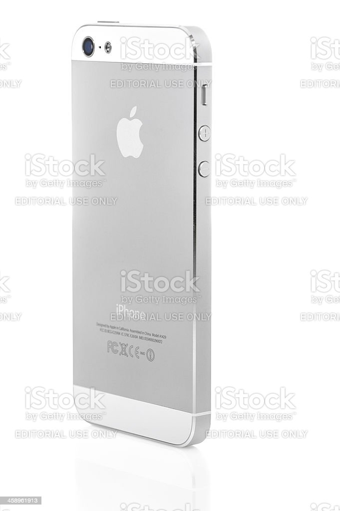 Side view of an iPhone 5 royalty-free stock photo