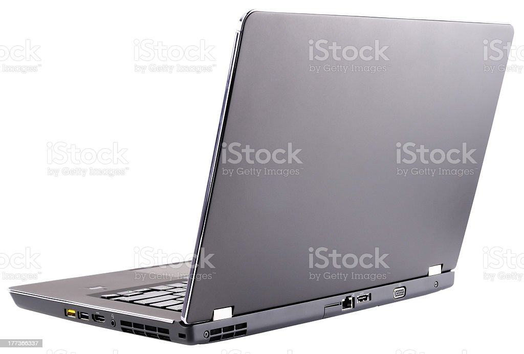 Side view of an open laptop on a white background stock photo
