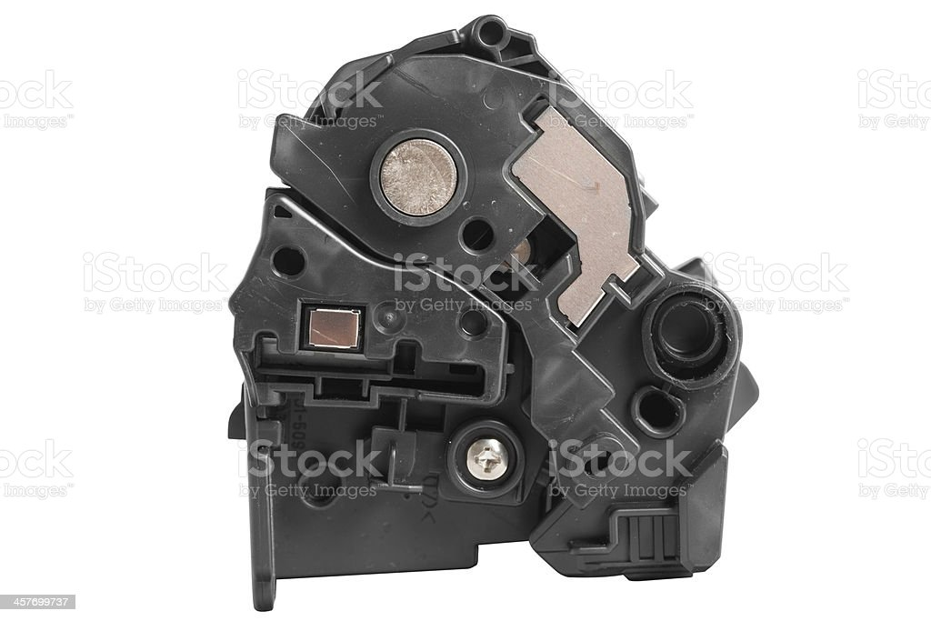 Side view of an used and broken printer toner cartridges royalty-free stock photo